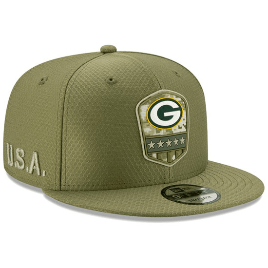 New Era Green Bay Packers Cap Salute To Service 9FIFTY oliv