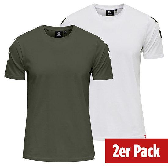 hummel 2er Set T-Shirt Legacy Chevron beetle/weiß