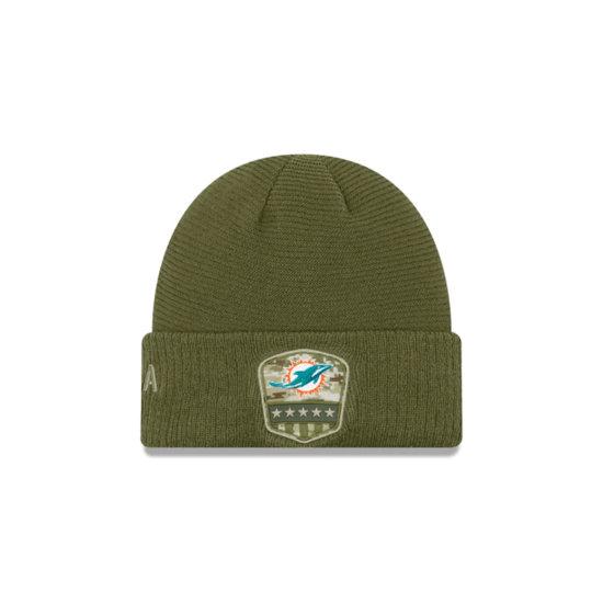 New Era Miami Dolphins Beanie Salute To Service oliv