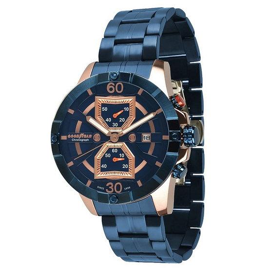 GOODYEAR Herrenuhr Chronograph Edelstahl Blau