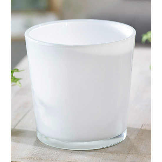 Garten-Welt Glas-Übertopf ø 19 cm weiß