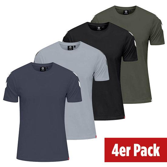 hummel 4er Set T-Shirt Legacy Chevron schwarz/grau/beetle/blue night