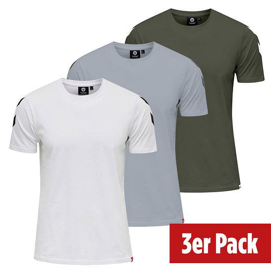 hummel 3er Set T-Shirt Legacy Chevron grau/beetle/weiß