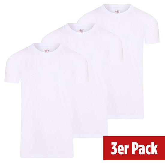 Mario Russo Basic Shirt Rundhals 3er Pack weiß