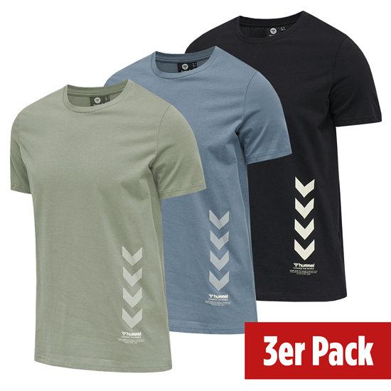 hummel 3er Set T-Shirt Duncan Bio-Baumwolle schwarz/china blue/vetiver