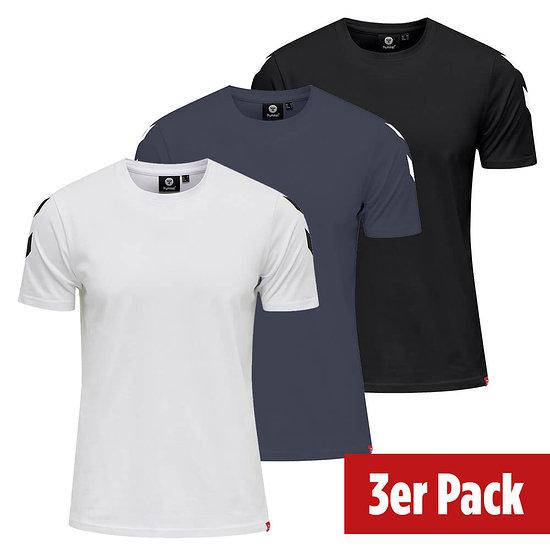 hummel 3er Set T-Shirt Legacy Chevron schwarz/blue nights/weiß