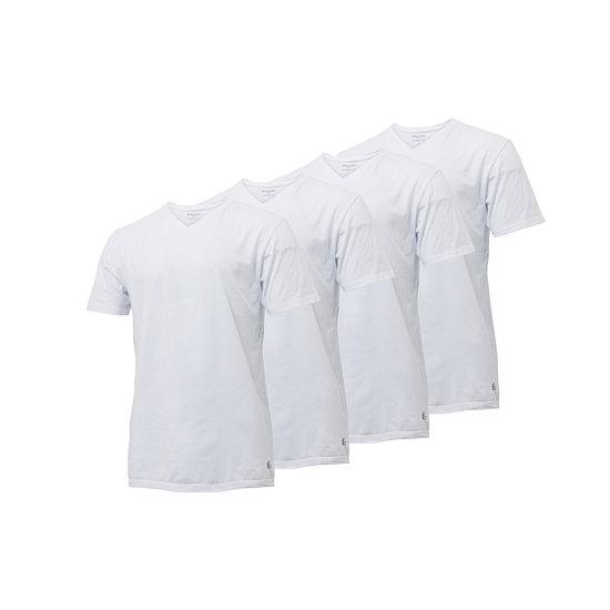 Gentlemen Basic Shirt V-Neck 4er Pack weiß