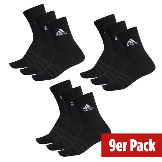 Adidas Sportsocken Light Crew 3er Pack - 3er Set = 9 Paar Socken schwarz