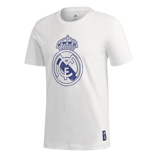 Adidas Real Madrid T-Shirt Wappen 2020/2021 Weiß