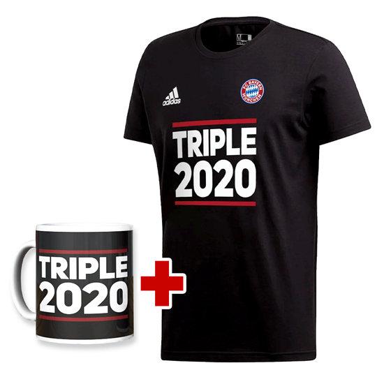 Adidas FC Bayern München T-Shirt Triple Sieger 2020 + Tasse Triple Schwarz/Schwarz