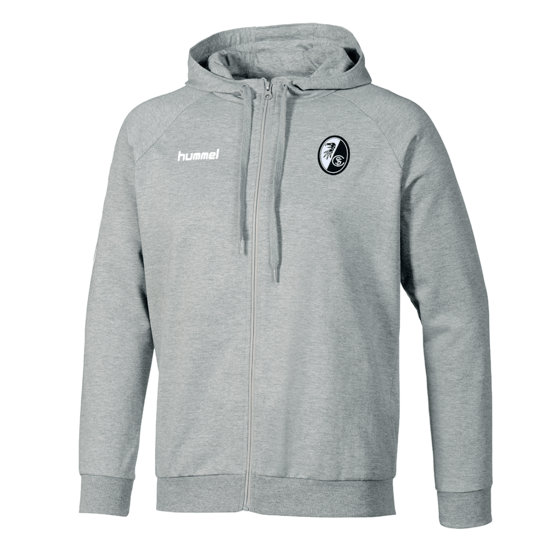 hummel SC Freiburg Kapuzenjacke Cotton Go grau