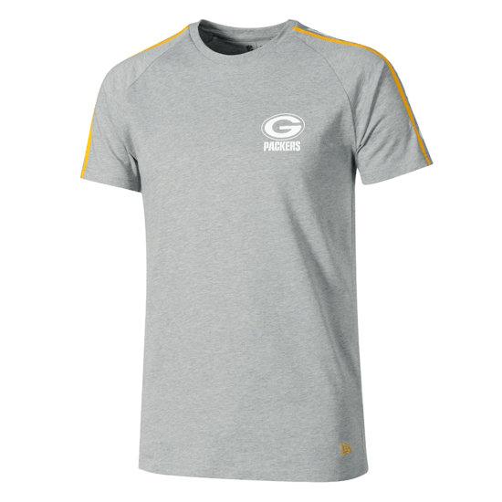 New Era Green Bay Packers T-Shirt Raglan Shoulder Print grau