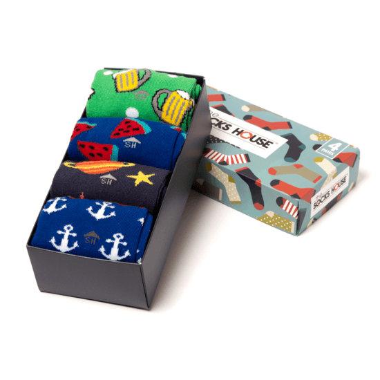 The Socks House Herrensocken 4er Pack Geschenkbox Theme bunt