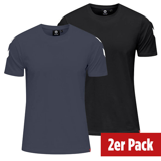 hummel 2er Set T-Shirt Legacy Chevron schwarz/blue nights