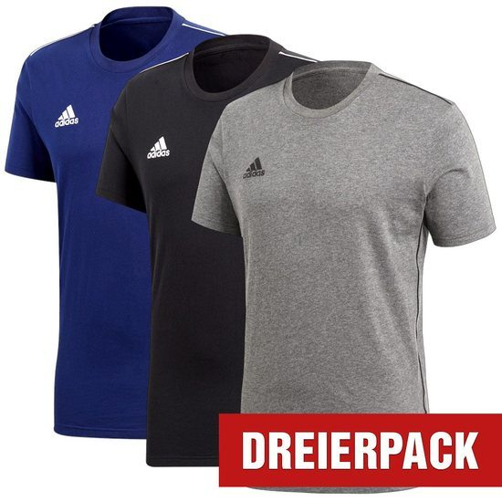 Adidas T-Shirt CORE 18 Set 3er Pack Schwarz/Grau/Blau