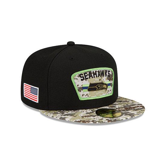 New Era Seattle Seahawks Cap Salute To Service 59FIFTY 2021 schwarz