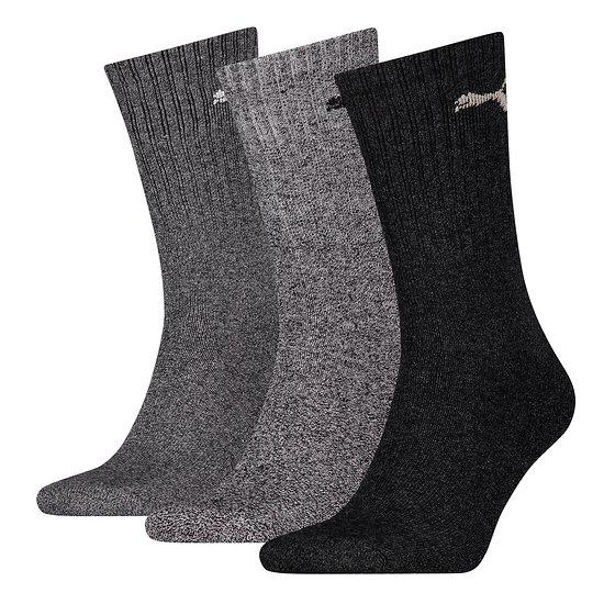 Puma Socken 3er Pack Lang SW/Grau/Anthrazit