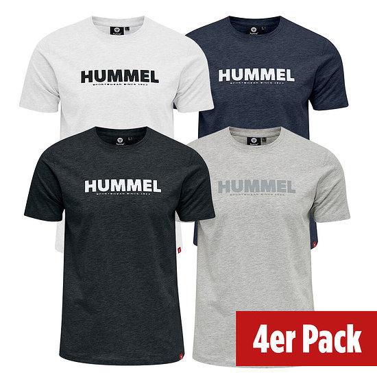 hummel 4er Set T-Shirt Legacy schwarz/grau/blau/weiß