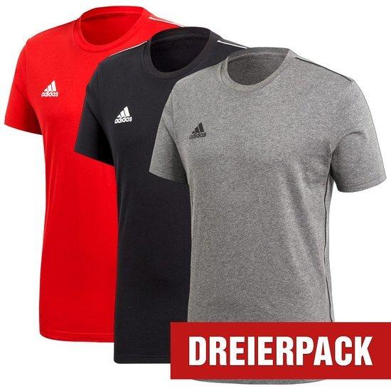 Adidas T-Shirt CORE 18 Set 3er Pack Schwarz/Grau/Rot