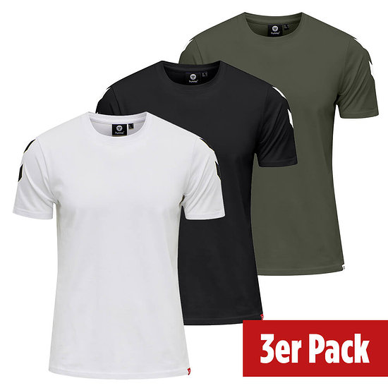 hummel 3er Set T-Shirt Legacy Chevron schwarz/beetle/weiß
