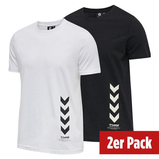 hummel 2er Set T-Shirt Duncan Bio-Baumwolle schwarz/weiß