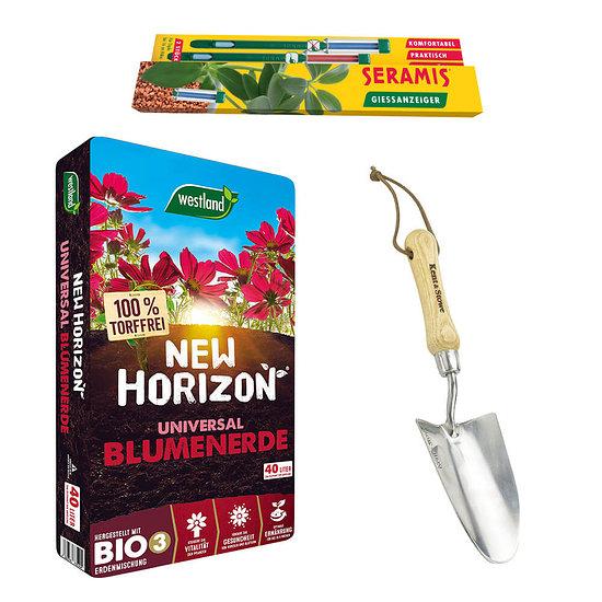 Seramis Pflanzpaket mit Blumenerde, Schaufel und Gießanzeiger
