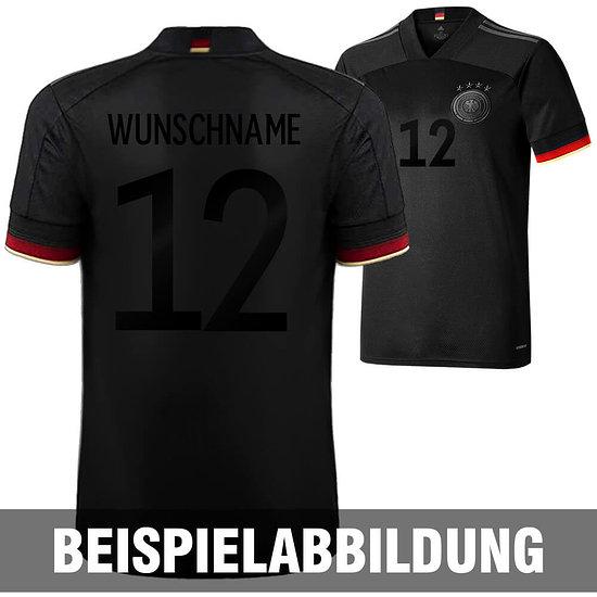 Adidas Deutschland EM 2021 DFB Trikot Auswärts SCHWARZER FAN-AUFDRUCK