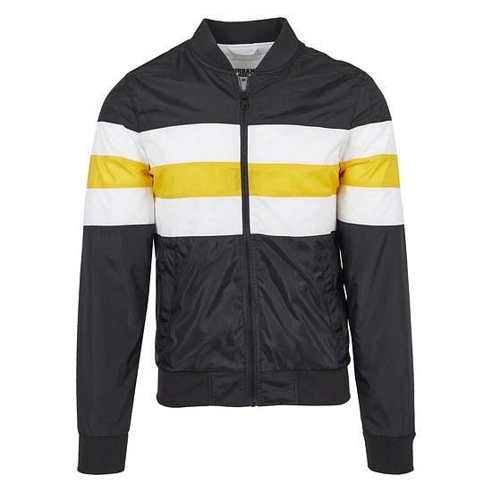 URBAN CLASSICS Nylonjacke Striped schwarz/weiß/gelb