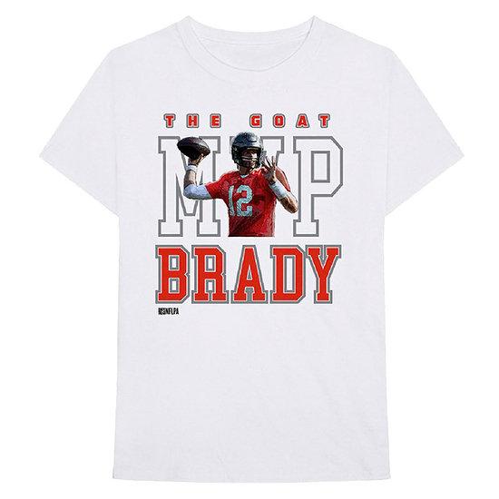 Bravado NFLPA Tom Brady T-Shirt The Goat MVP weiß