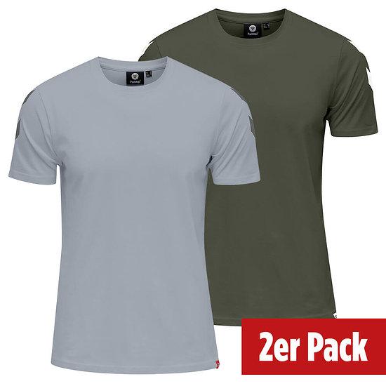hummel 2er Set T-Shirt Legacy Chevron grau/beetle
