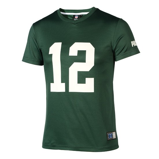 Majestic Athletic Green Bay Packers PolyMesh T-Shirt Rodgers Nr 12 grün