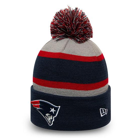 New Era New England Patriots Beanie Striped Cuff Knit blau
