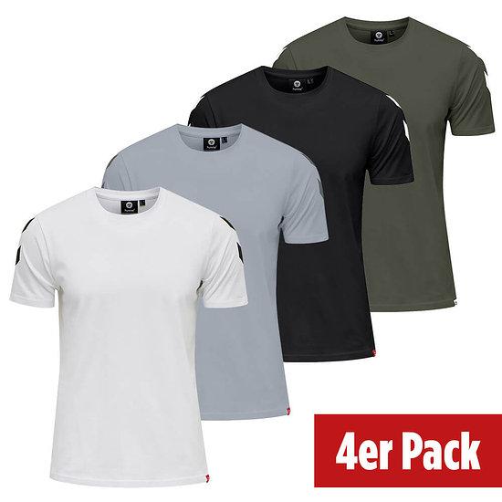 hummel 4er Set T-Shirt Legacy Chevron schwarz/beetle/weiß/grau