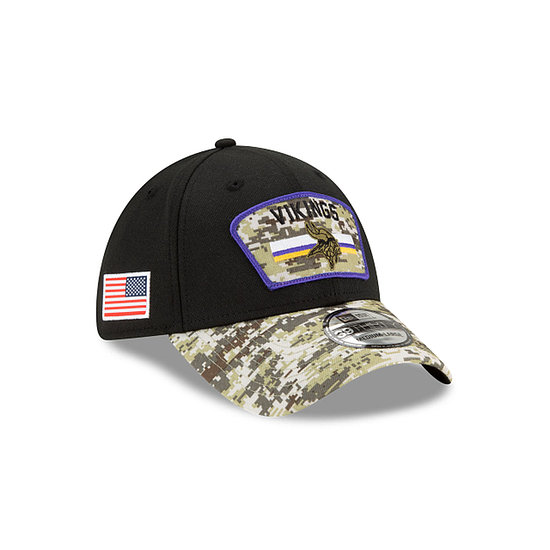 New Era Minnesota Vikings Cap Salute To Service 39THIRTY 2021 schwarz