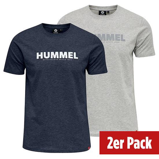 hummel 2er Set T-Shirt Legacy grau/blue nights