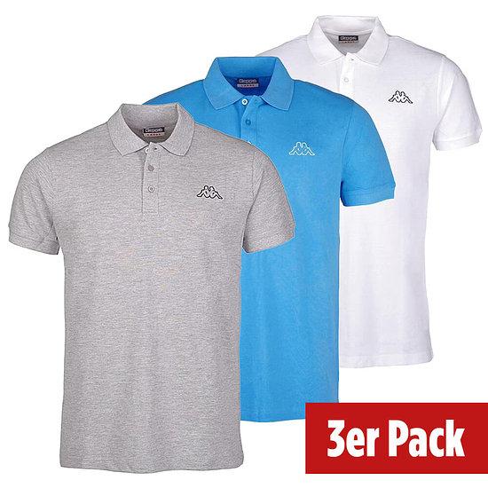 Kappa 3er Set Poloshirt PELEOT Blau/Grau/Weiß
