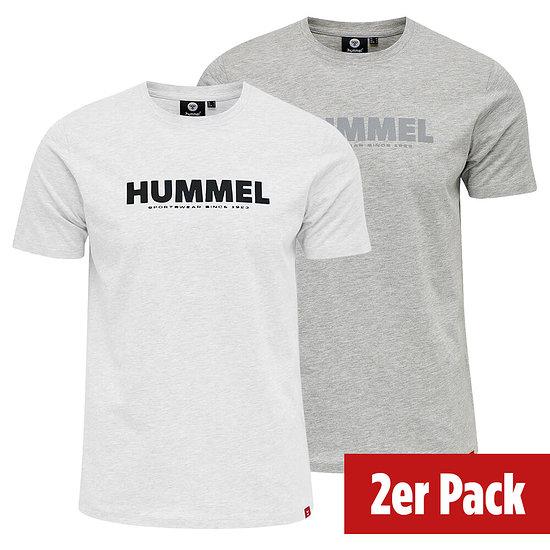 hummel 2er Set T-Shirt Legacy grau/weiß