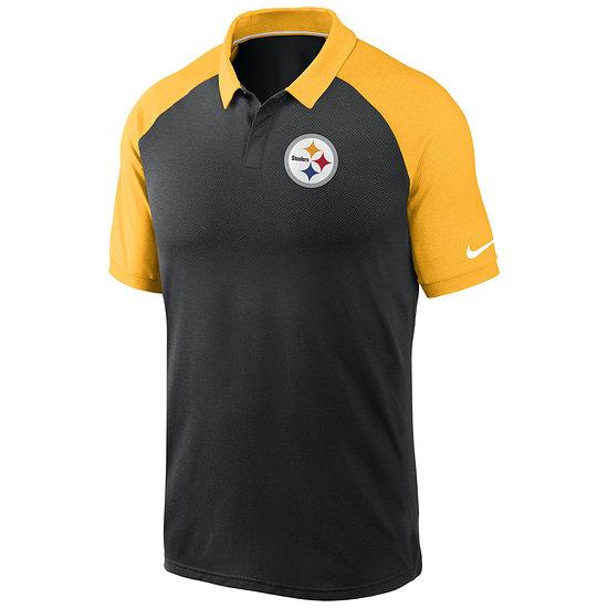 Nike Pittsburgh Steelers Polo Logo Raglan schwarz/gold