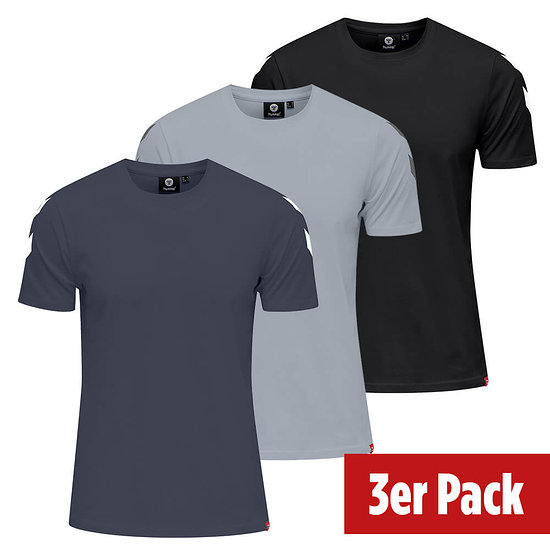 hummel 3er Set T-Shirt Legacy Chevron schwarz/grau/blue nights