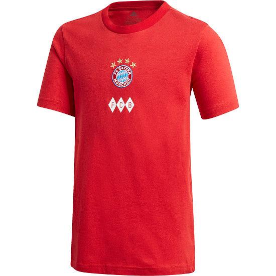 Adidas FC Bayern München T-Shirt FCB Wappen Sterne Kinder Rot