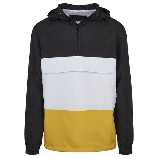 URBAN CLASSICS Jacke Color Block Pull Over schwarz/gelb/weiß