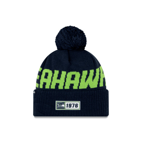 New Era Seattle Seahawks Beanie On Field Sport Knit RD blau
