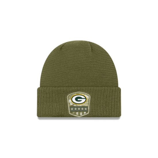 New Era Green Bay Packers Beanie Salute To Service oliv