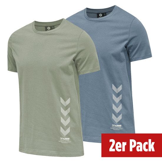 hummel 2er Set T-Shirt Duncan Bio-Baumwolle china blue/vetiver