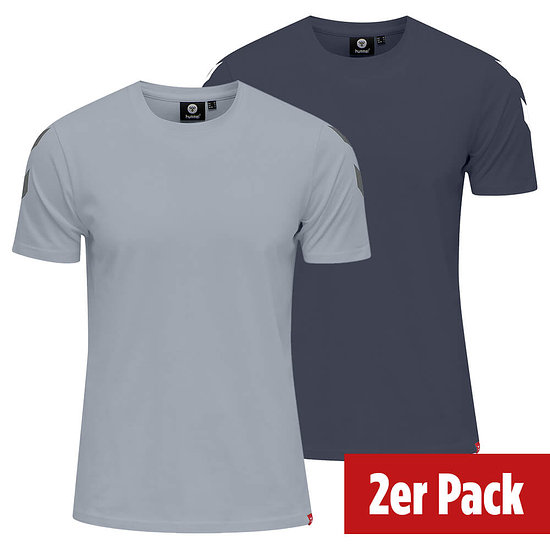 hummel 2er Set T-Shirt Legacy Chevron grau/blue nights