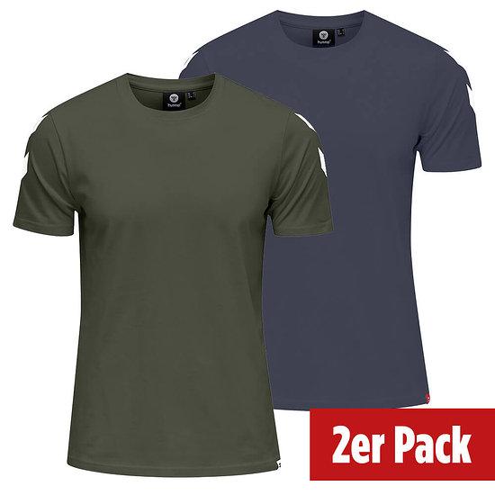 hummel 2er Set T-Shirt Legacy Chevron beetle/blue nights