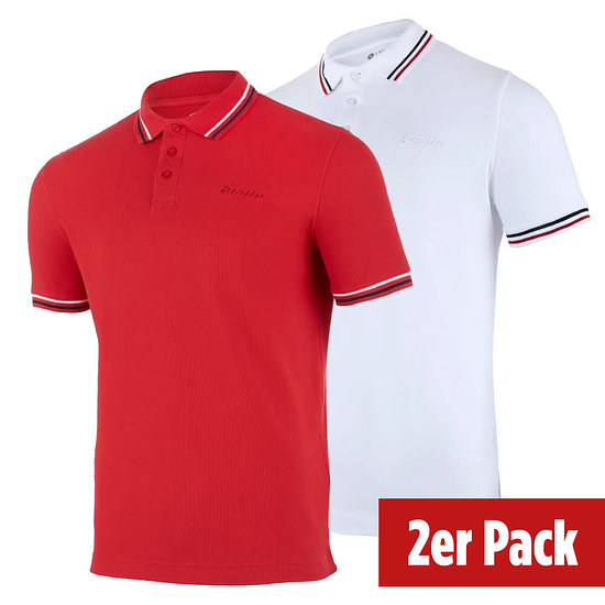 Lotto Poloshirt Classica 2er Set rot/weiß