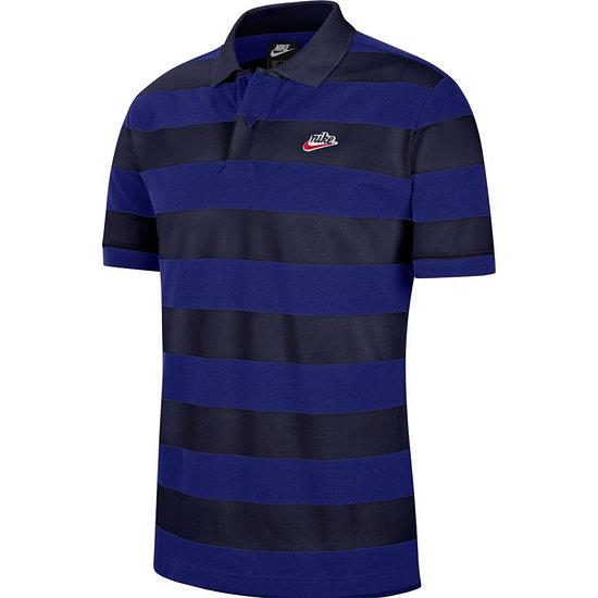 Nike Poloshirt Heritage gestreift Blau/Schwarz