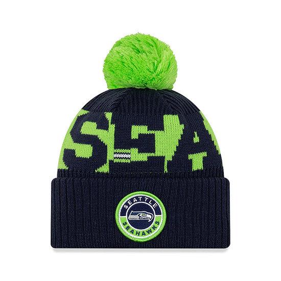 New Era Seattle Seahawks Beanie On Field Sport Knit blau