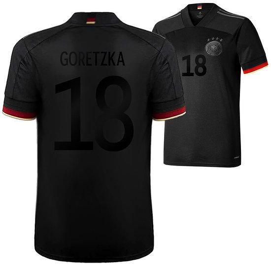 Adidas Deutschland EM 2021 DFB Trikot Auswärts SCHWARZER Fan-Aufdruck GORETZKA